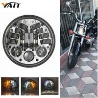 Yait 5.75 inch LED Driving Headlight for Harley Dyna 883 XL1200 48 Night Road Yamaha V Star XVS 650 950 1100