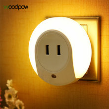 Woodpow Round Auto Light Sensor LED Night Light With 2 USB Charging Socket Lamp EU/US Wall Plug Charger For iPhone Xiaomi Tablet(China)