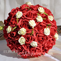 2017 Cheap New High Quality Romantic Dark Red Colorful Bridal Bridesmaid Handmade Artificial Rose Wedding/Bridesmaid Bouquets