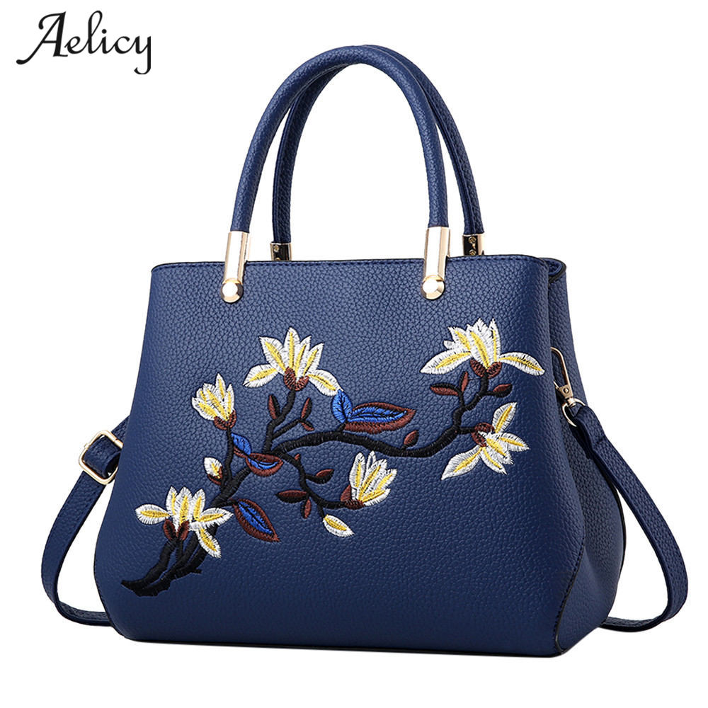 Aelicy Zipper Embroidery Floral Totes Flower Bag Female Ladies Evening Strap Bags Handbags Women Famous Brands Day Clutches