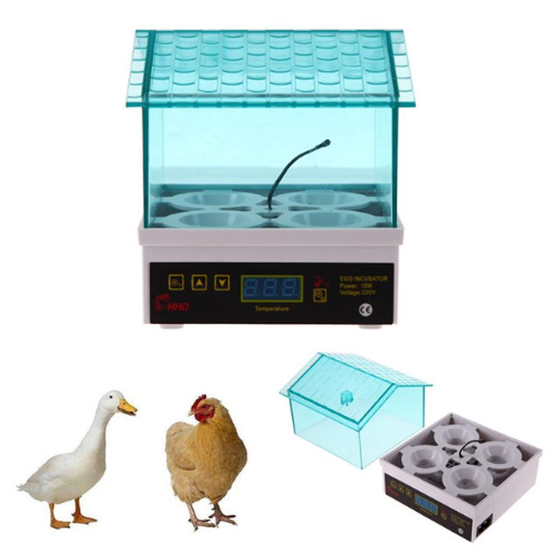 Mini Egg Incubator Chicken Duck Goose Bird Automatic Poultry Hatcher Machine 4Pcs Home Incubation Equipment 4 Plug 110V 220V