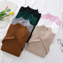 New 2019 Knitted Turtleneck Sweater Fashion Women Autumn High Stretch Striped Pullover Long Sleeve Sweater Women Pull Femme L865