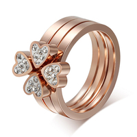 Fahion Luxury Custom 18k Rose Gold Plated Stainless Steel Clover Rings 3 Pieces Heart Bridal Engagement