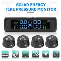 Солнечная мощность USB TPMS автомобильная система контроля давления в шинах lcd 4 внутренняя и внешняя датчики для VW Toyota SUV Предупреждение о темп...