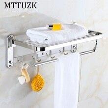 MTTUZK Бесплатная доставка DIY 304 из нержавеющей стали Ванной Вешалка Для Полотенец Складной Движимое Полотенцедержатель Двойной Полотенцесушители Бары