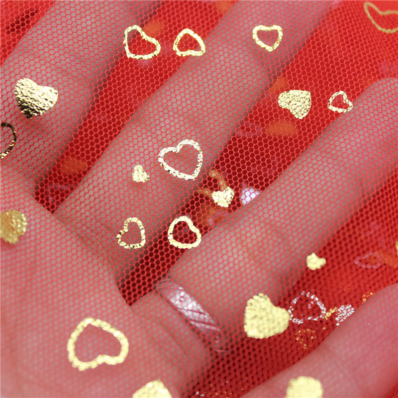 150cm 1m High Quality Love Heart Bronzing Fabric for Clothes Dress Wedding Deco Sewing DIY Organza Tutu Skirt Accessories in Fabric from Home Garden