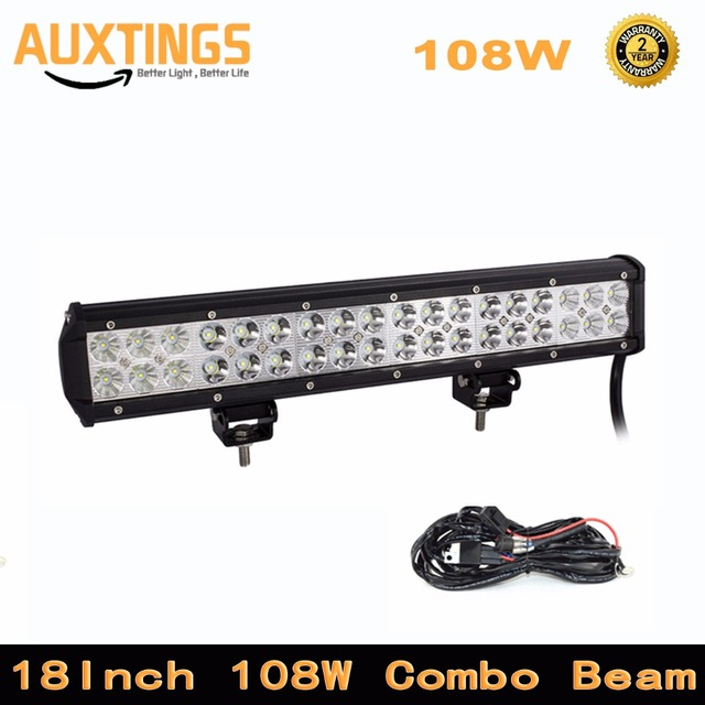 Dual rows 18 inch 108w led work light bar for tractor boat off road dual rows 18 inch 108w led work light bar for tractor boat off road aloadofball Gallery