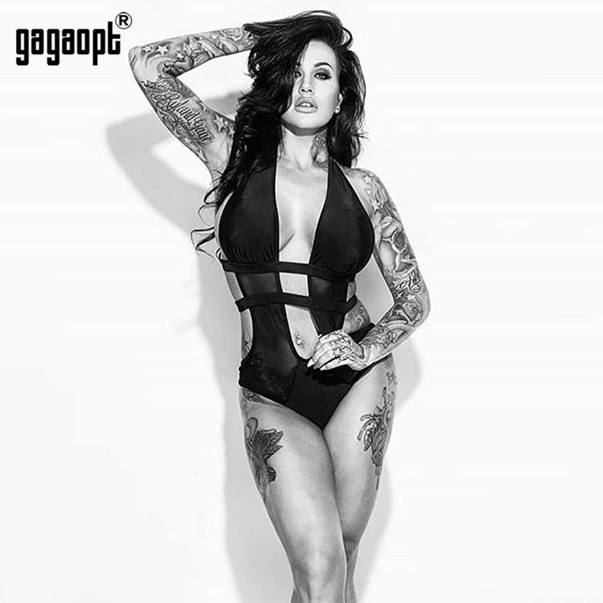 Gagaopt חדש רשת בגד גוף נשים שחור/לבן Mesh טלאים סקסי בגד גוף סקיני ללא משענת בגד גוף סרבל כולל