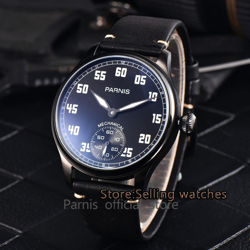 купить 44mm parnis black dial PVD case hand winding 6498 mechanical mens watch по цене 5929.38 рублей
