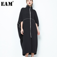 EAM 2018 New Spring Stand Collar Long Sleeve Black Letter Zipper Irregular Big Size Solid