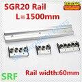 Квадратный тип роликовая линейная направляющая SGR20 роликовая Направляющая L = 1500 мм + 1 шт. SGR20 колесная направляющая