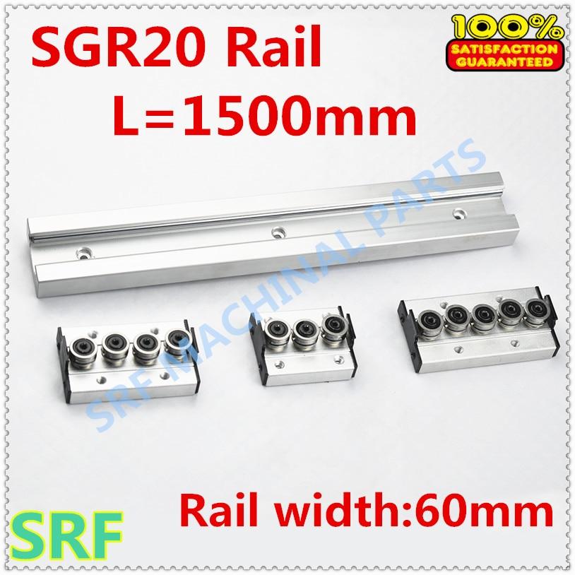 Rullo tipo quadrato guida di guida lineare guida di scorrimento a rulli SGR20 L = 1500mm + 1 pz SGR20 ruota di scorrimento bloccoRullo tipo quadrato guida di guida lineare guida di scorrimento a rulli SGR20 L = 1500mm + 1 pz SGR20 ruota di scorrimento blocco