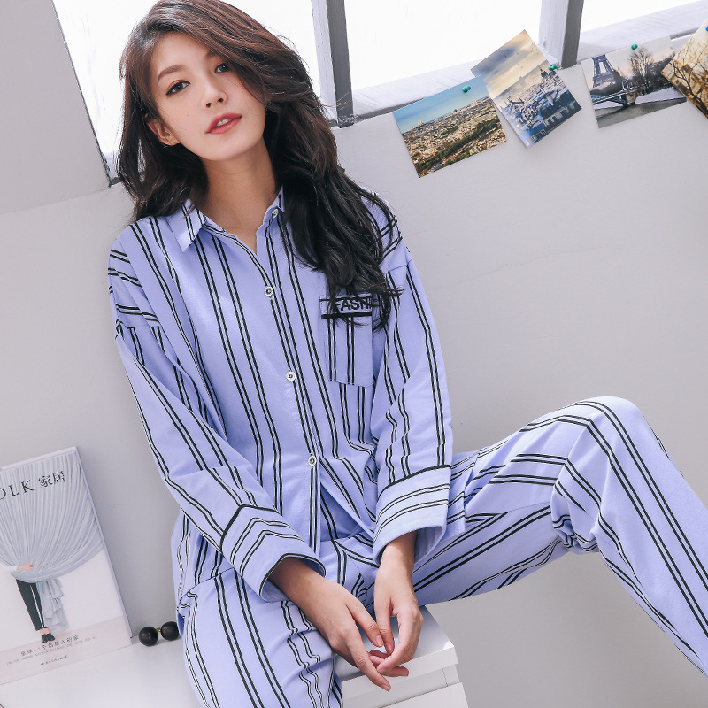 Pajamas Sets Women Striped 100% Cotton Fashion Women Long Sleeve Sleepwear Suit 2 Piece Sexy Spring Home Lounge Gift