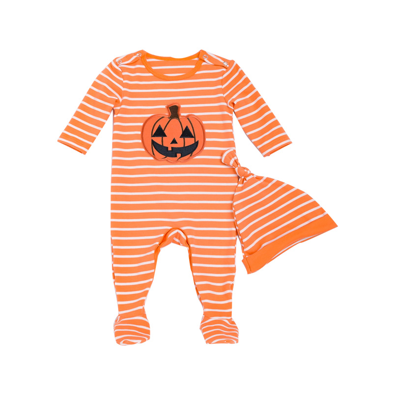 Halloween Baby Rompers Sets Yellow Striped Romper+Hat 2pcs Suit Cotton Pumpkin Appliqued Newborn Girls Clothes Toddler Clothing