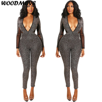 Sexy Long Sleeve Backless Jumpsuit Rompers Female V Neck Sexy Romper Women Fashion Sexy Deep V neck Slim Fit Jumpsuit