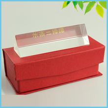Educational Tools Birthday Gift 3X3X10cm Triangular Prism Optical Glass Prism with Red Box for Science Physics Teaching