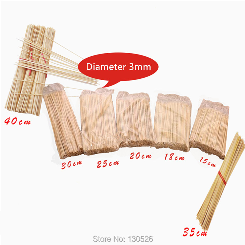 50Pcs 15~40cm 3mm Bamboo New Disposable Wooden BBQ Party Skewers Natural Bamboo sticks Meat Food Barbecue Sticks Accessories