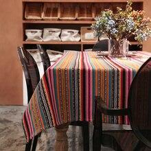 Pastoralen Rechteck Multicolor Striped Café Tisch Tuch für Hotel Partei Mehrere Größen Tischdecke