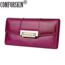 COMFORSKIN Luxurious 100% Oil Waxing Leather Multi-function Long Retro Women Wallets European And American Cowhide Clutch Purses