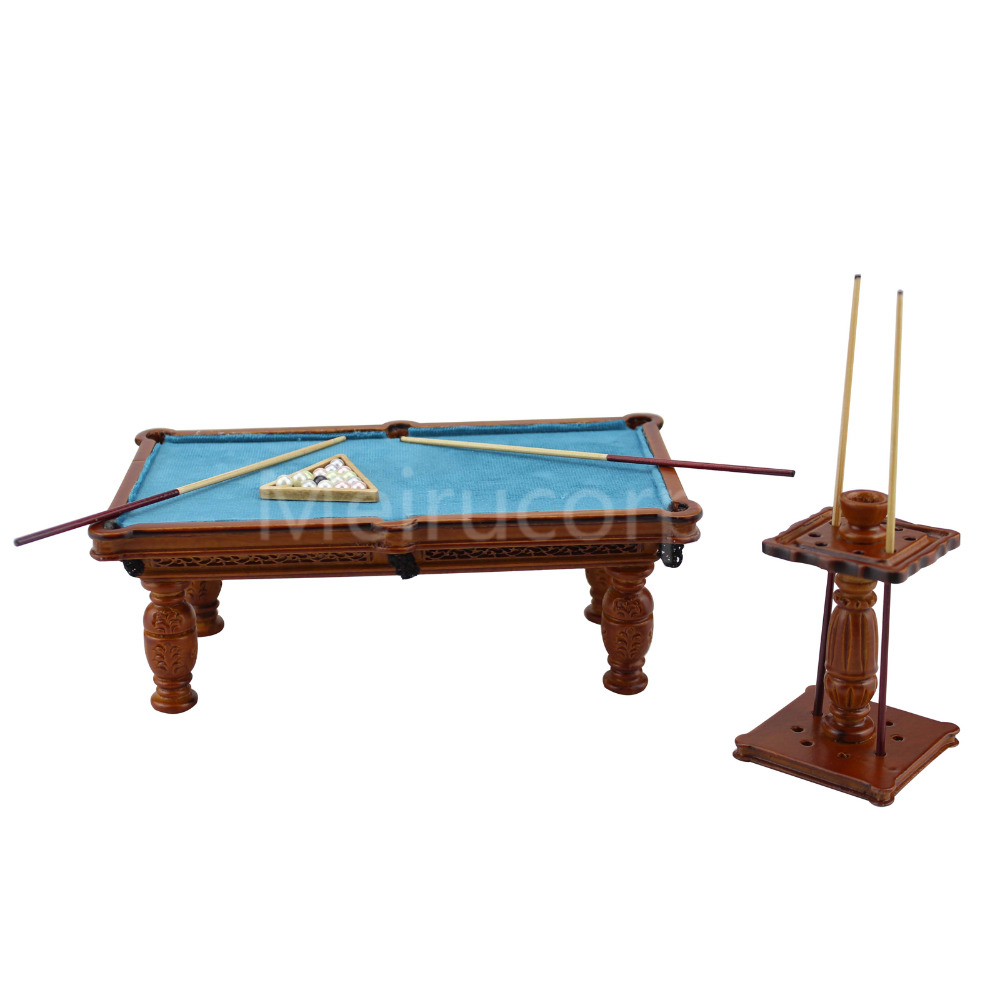 Dollhouse miniature model 1 12 scale Hand carved Exquisite pool table Cue rack set