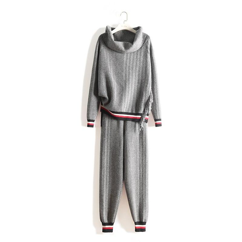 Costume Pantalon Nouveau Femelle Deux Laine Haut Manches 2018 Gland Gris Rayé Cachemire Tricoté Col Bambou Fiber De Longues Pièces Femmes dw8aYxBd