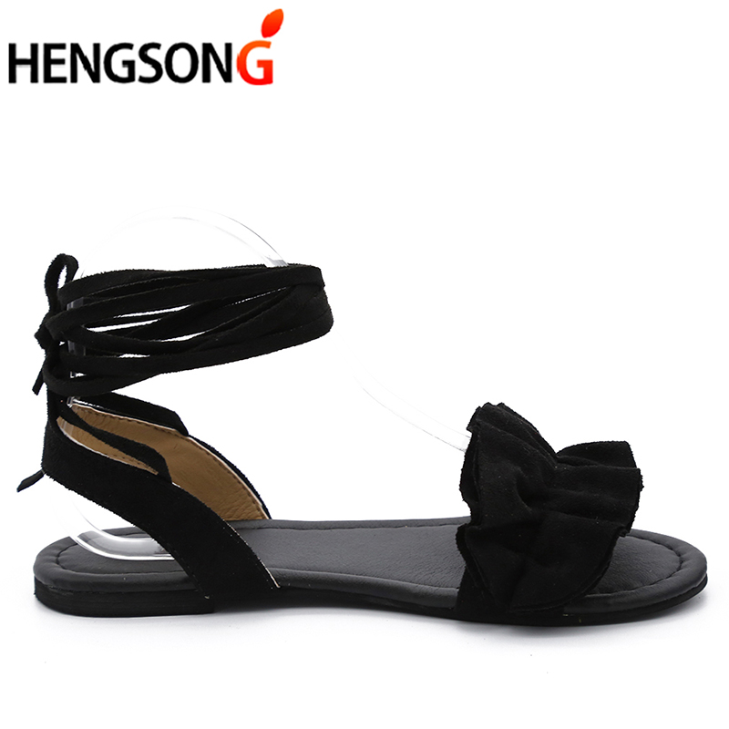 HTB19dbApOCYBuNkSnaVq6AMsVXai Plus Size Women's Sandal Ruffles Shoes Woman Cross Bandage Sandals Summer Shoes Flats Lace-up Ankle Strap Sandalias Mujer 2018