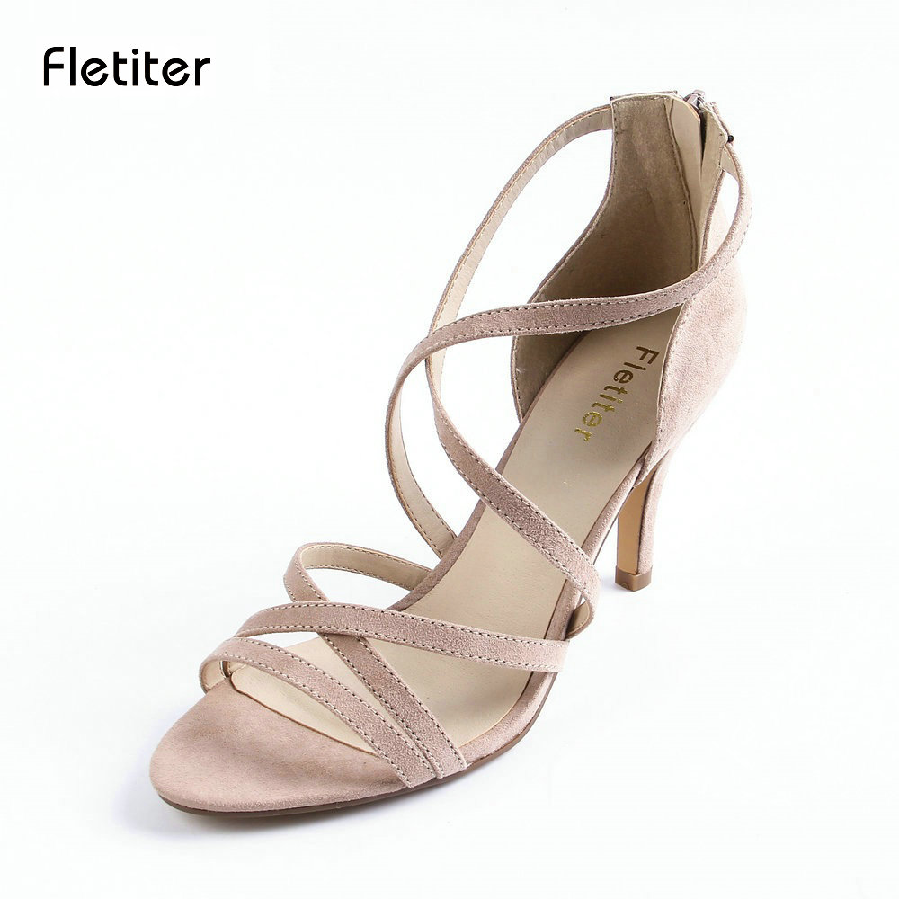 Fletiter Women Summer Gladiator Sandals Women Shoes Sexy Peep Toe Women Cuts Outs Pink Sandals Shoes Woman Ladies Sandals phyanic 2017 gladiator sandals gold silver shoes woman summer platform wedges glitters creepers casual women shoes phy3323