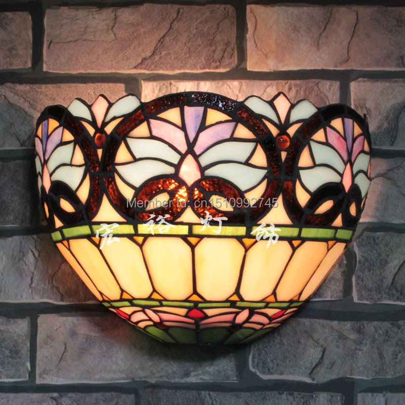 Tiffany Glass Wall Sconces: Antique Tiffany Victoria Wall Lamp Stained Glass Lampshade