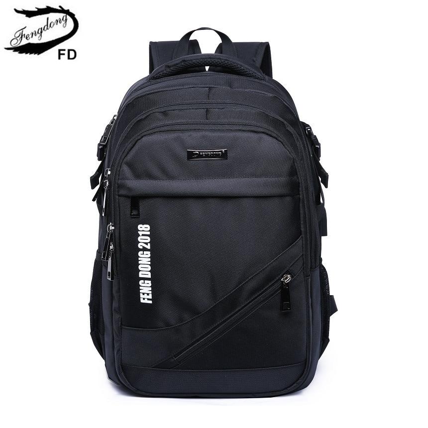 FengDong black waterproof large school backpack usb bag men travel bags boy laptop bag 15.6 high school bags for boys schoolbag