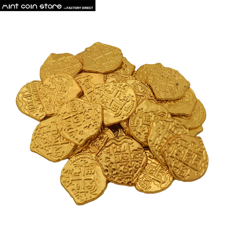 Lot Of 72 Gold Color Spanish Pirate Doubloons Coins US Toy