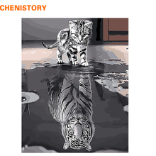CHENISTORY Frameless Reflection Cat Animals DIY Painting By Numbers Modern Wall Art Canvas Unique Gift For Home Decor