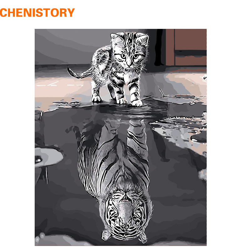 CHENISTORY Frameless reflexión gato animales DIY pintura por números pintura moderna de la lona de arte de la pared regalo único para la decoración casera