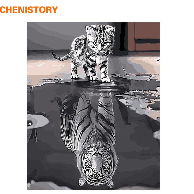 CHENISTORY Rahmenlose Reflexion Katze Tiere DIY Malen Nach Zahlen Moderne Wandkunst Leinwand Malerei Einzigartiges Geschenk Für Wohnkultur