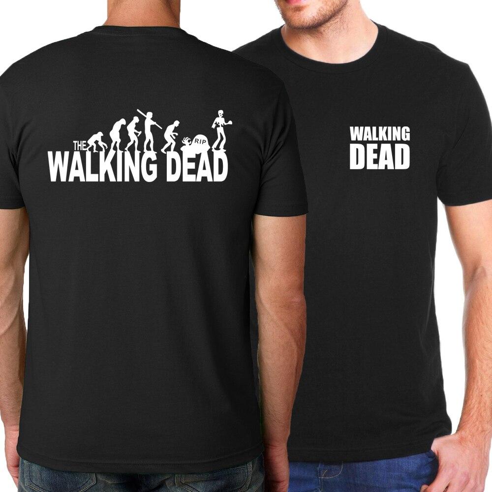 2019 Summer Short Sleeve Shirt Men The Walking Dead T Shirts 100% Cotton Fashion Casual O-Neck  Men Tops Tees Brand-Clothing