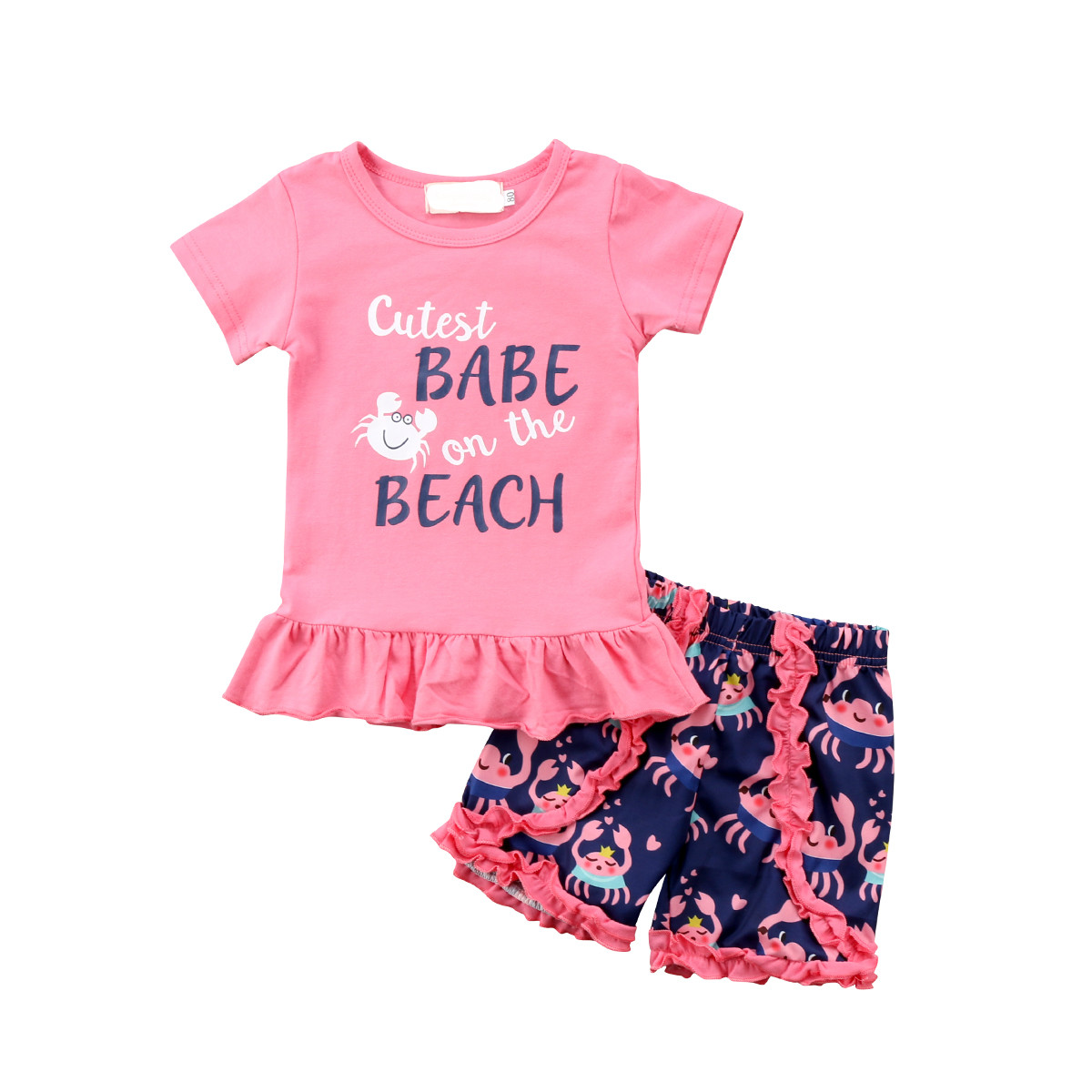 2018 Lovely Newborn Baby Infant Toddled Cartoon Outfits Ruffles T-Shirt Tops Short Pants Summer Children New Clothes Set