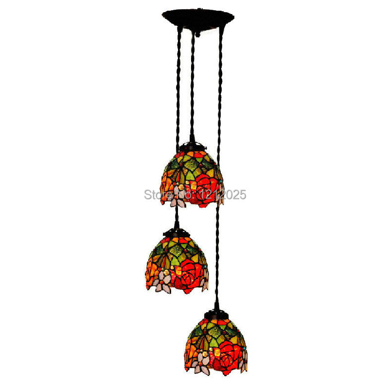 Antique Tiffany Hanging Lamp Value: Antique Tiffany Style Rose Pendant Lamp Dining Lights Bars