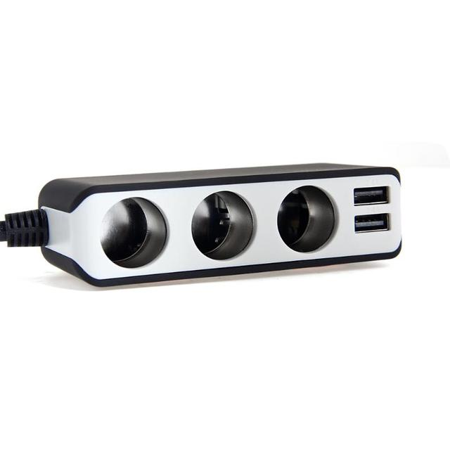 EUGIZMO 4 USB Port 3 Way Car Cigarette Lighter Socket Splitter Charger DC 12~24V Cigarette Lighter Socket Black Free shipping