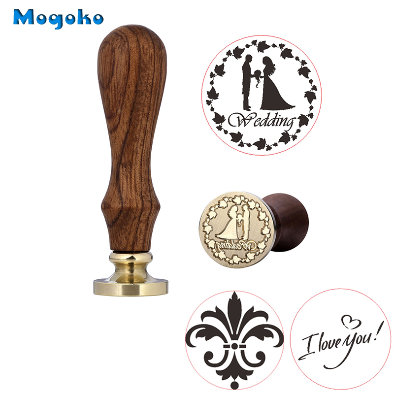 Mogoko 1x Wax Seal Stamp Wedding I Love You Flower Retro Wood Classic Vintage Decorative Invitation