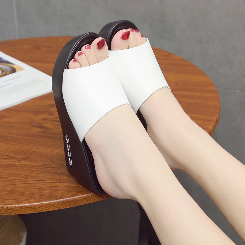 2019 summer new wedge sandals wear fish mouth fashion wild with 6cm slippers Korean thick soled slippers Free shipping in High Heels from Shoes