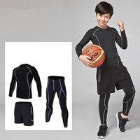 3PCS Kids compression base layer running sets survetement football basketball soccer training pants shorts sport tights leggings