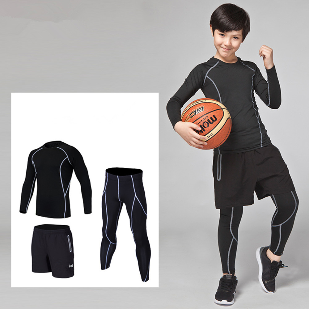 2f4df7d15d32f4 3PCS Kids compression base layer running sets survetement football  basketball soccer training pants shorts sport tights leggings