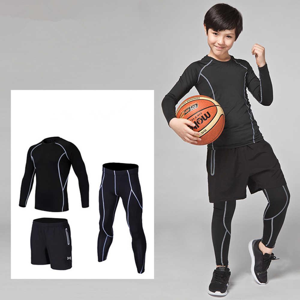 Boys Girls Athletic Compression Leggings /& Shirt Set Sports Running Shorts Football Joggers Pants Scooer Base Layer
