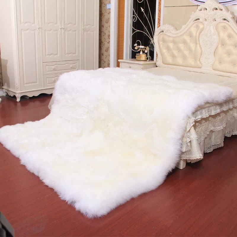 Genuine sheepskin rug 180*200cm fur carpet for home decor fur mat for living room New Zealand sheep fur bed cover blanket