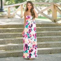 Alibaba Express 2017 Womens Summer Boho Floral Beach Long Dress Ladies Bandeau Holiday Maxi Sundress Vestido