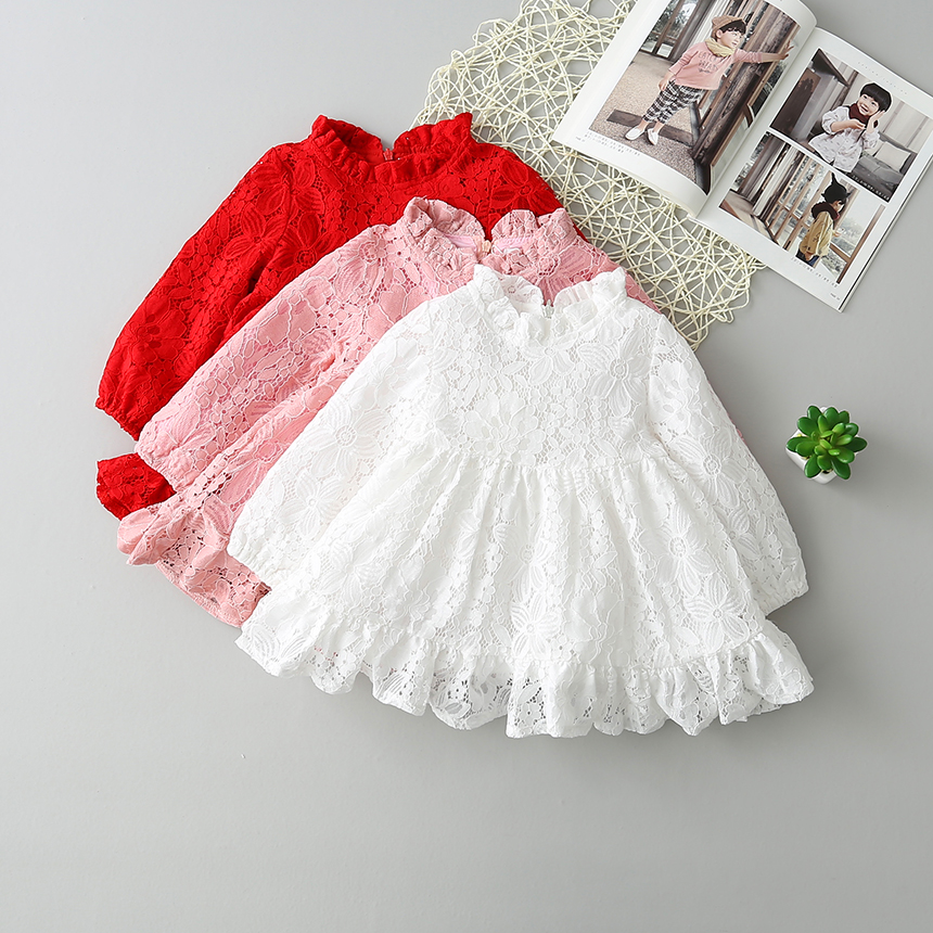 New Baby Girls Spring Lace Blouse Dresses, Princess Children Sweet Dress Red White Pink 6 pcs/lot, Wholesale new year spring 2016 new corduroy pleated dress dress red princess dress