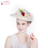 2019 Handmade bride mesh hair accessories wedding high end flower hat head flower aristocratic mystery veil face mesh hat SS115