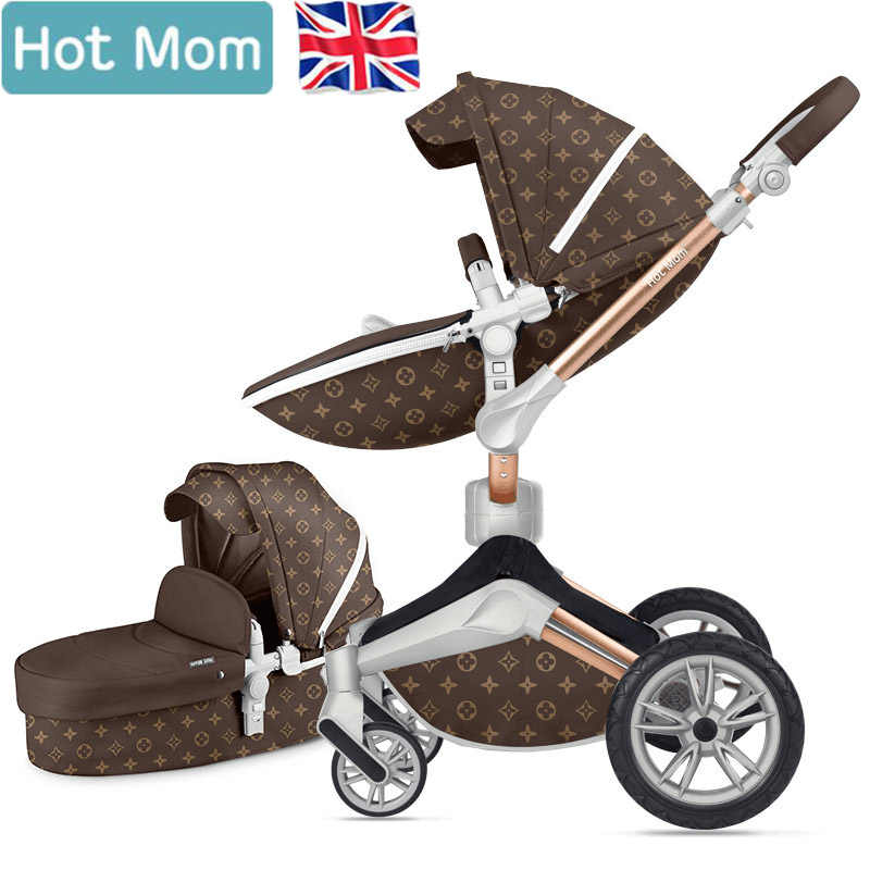 Free Shipping 2019 360 Degree Hotmom Luxury Baby Stroller 4 In 1 Stroller With Car Seat And Mom Bag Eu Standed Send Gifts