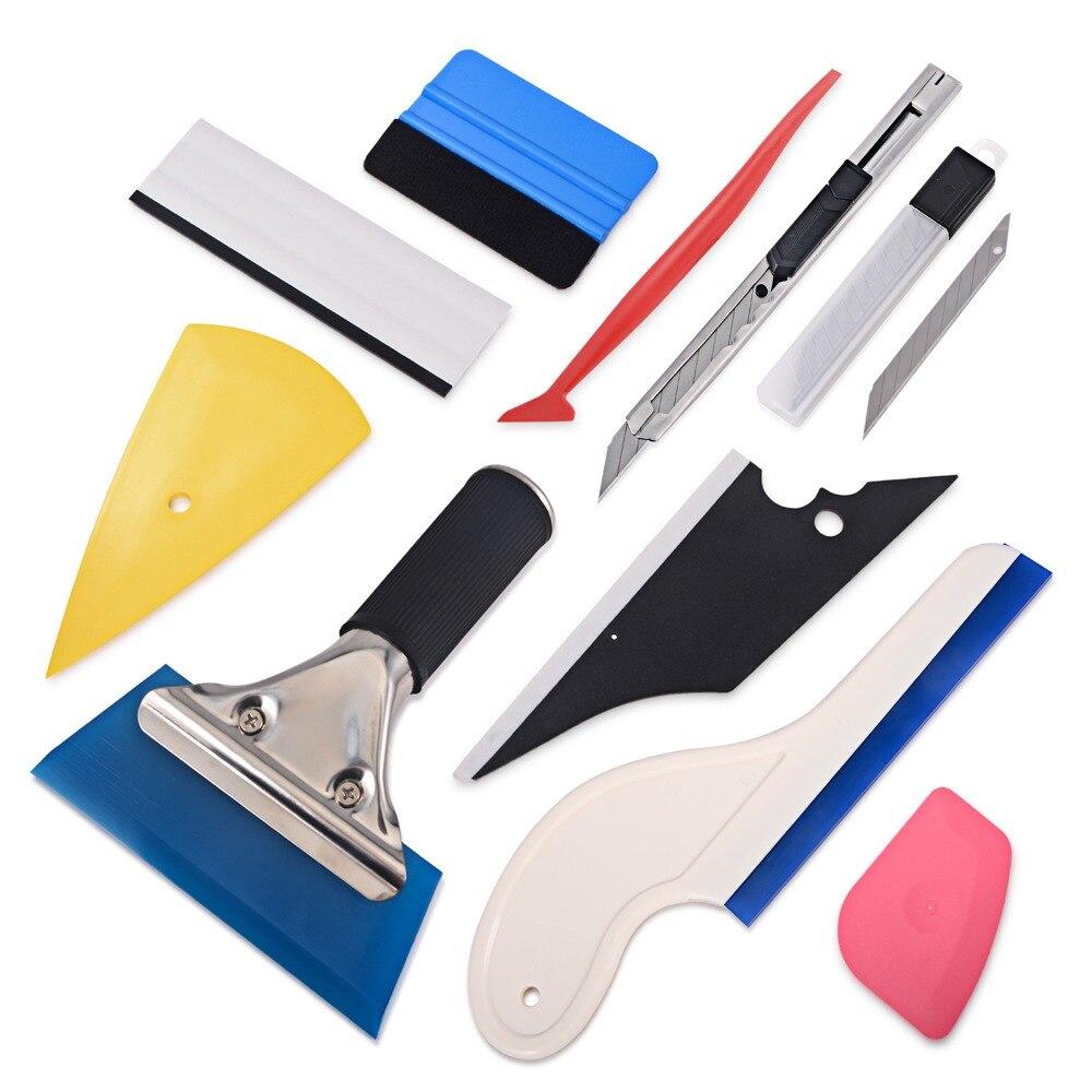 FOSHIO tinte de ventana Kit de herramienta de vinilo del abrigo del coche pegatinas herramienta Auto accesorios de tintado escobilla de goma cortadora de película cuchillo