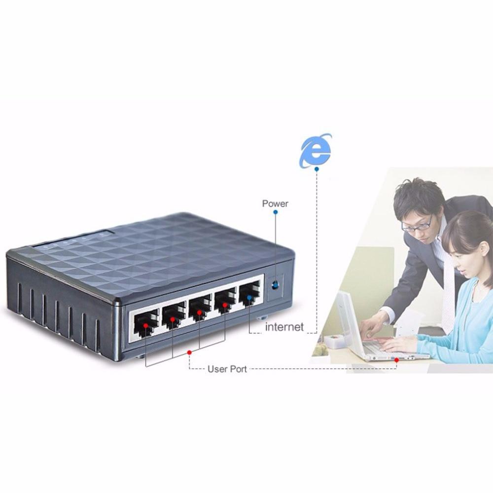 все цены на EU Plug 5-Port 10/100/1000Mbps Fast LAN Ethernet Network Switch HUB Desktop Mini Adapter онлайн