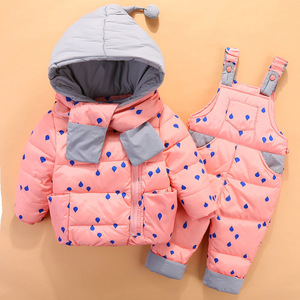 Image 4 - 2020 crianças para baixo conjuntos de roupas 2 pçs casaco + calças de inverno crianças roupas para baixo jaqueta ternos meninos & meninas com capuz outerwear terno